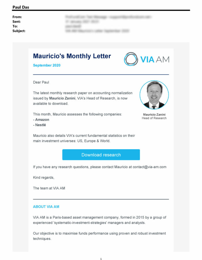 Financial email examples for Asset Managers